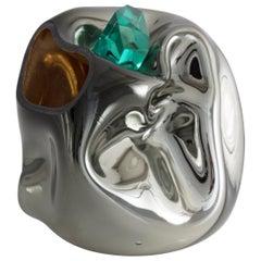 Petit Crumpled Vessel in Silver Hand Blown Glass by Jeff Zimmerman