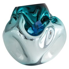 Petit Crumpled Vessel in Silver and Turquoise Hand-Blown Glass, Jeff Zimmerman