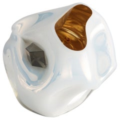 Petit Crumpled Vessel in Silver and White Hand Blown Glass by Jeff Zimmerman