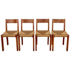 Pierre Chapo Set of Four Elm and Straw S 24 Dining Chairs, France, 1960s