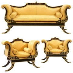 20th Century English Regency Ebonised and Parcel-Gilt Couch & Pair of Armchairs