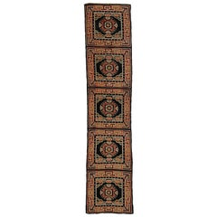 19th Century Blue, Orange and White Kyongde Runner Rug from Tibet, circa 1870s