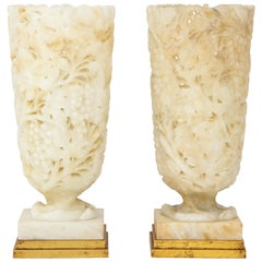 Exquisite Pair of Large Carved Alabaster Lamps