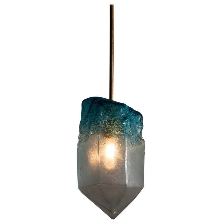 """""""Crystal"""" Pendant Light in Blue Hand Blown Glass by Jeff Zimmerman For Sale"""