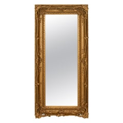 Large Antique Mirror, Tall, Victorian, Gilt Gesso, Dressing, 19th Century