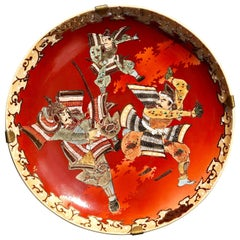 Asian Ceramic Three Samurai Warriors Red Big Japanese Hand Painted Wall Plate