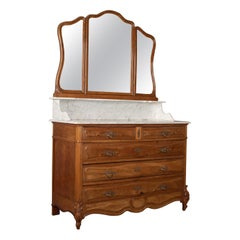 Antique Vanity Chest of Drawers, French, Marble Top, Mirror Back, Mahogany