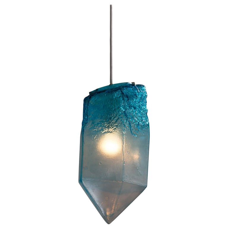 """""""Crystal"""" Pendant Light in Turquoise Hand Blown Glass by Jeff Zimmerman For Sale"""