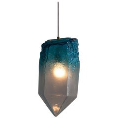 """Crystal"" Pendant Light in Turquoise Hand Blown Glass, Jeff Zimmerman"