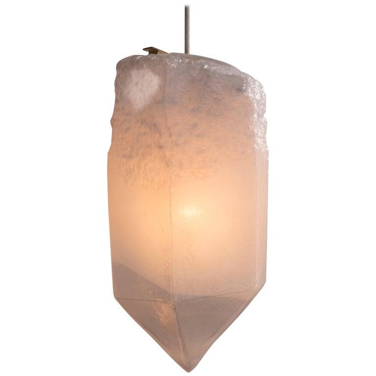 """Crystal"" Pendant Light in Seafoam Green Hand Blown Glass by Jeff Zimmerman For Sale"