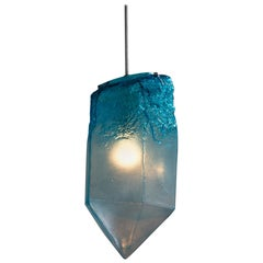 """""""Crystal"""" Pendant Light in Turquoise Hand Blown Glass by Jeff Zimmerman"""