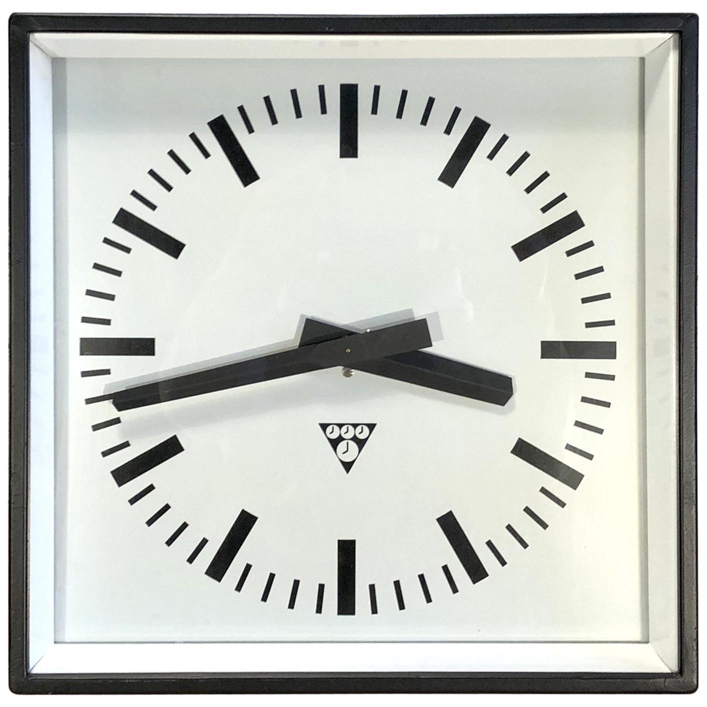 Black Industrial Square Pragotron Wall Clock, 1970s