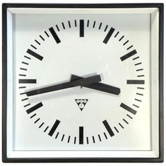 Black Industrial Square Pragotron Wall Clock, 1970s