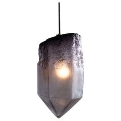"""Crystal"" Pendant Light in Eggplant Hand Blown Glass, Jeff Zimmerman"