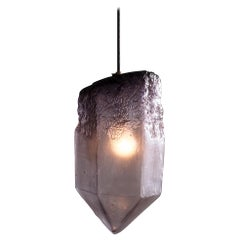 """Crystal"" Pendant Light in Eggplant Hand Blown Glass by Jeff Zimmerman"
