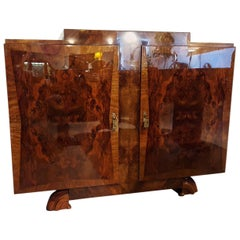 1930s French Art Deco Bookmatched Burlwood Server or Commode in High Gloss