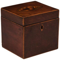 Antique Mahogany Shell Inlaid Tea Caddy, 18th Century