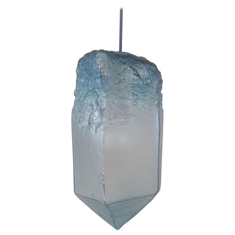 """Crystal"" Pendant Light in Blue Hand Blown Glass, Jeff Zimmerman For Sale"