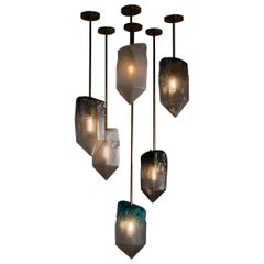 """Crystal"" 6-Piece Pendant Light in Hand Blown Glass by Jeff Zimmerman"