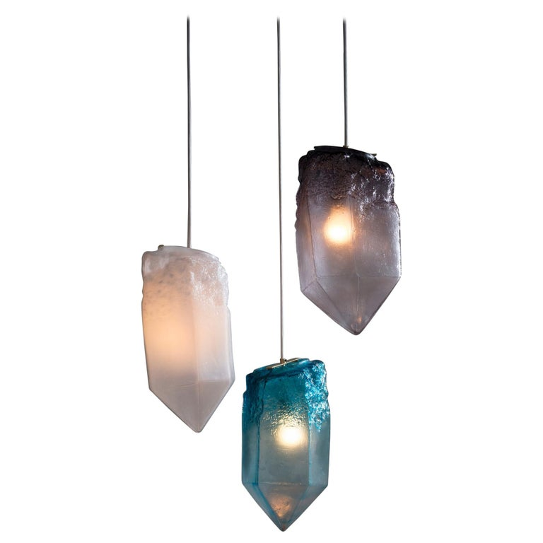 """Crystal"" 3-Piece Pendant Light in Hand Blown Glass, Jeff Zimmerman For Sale"