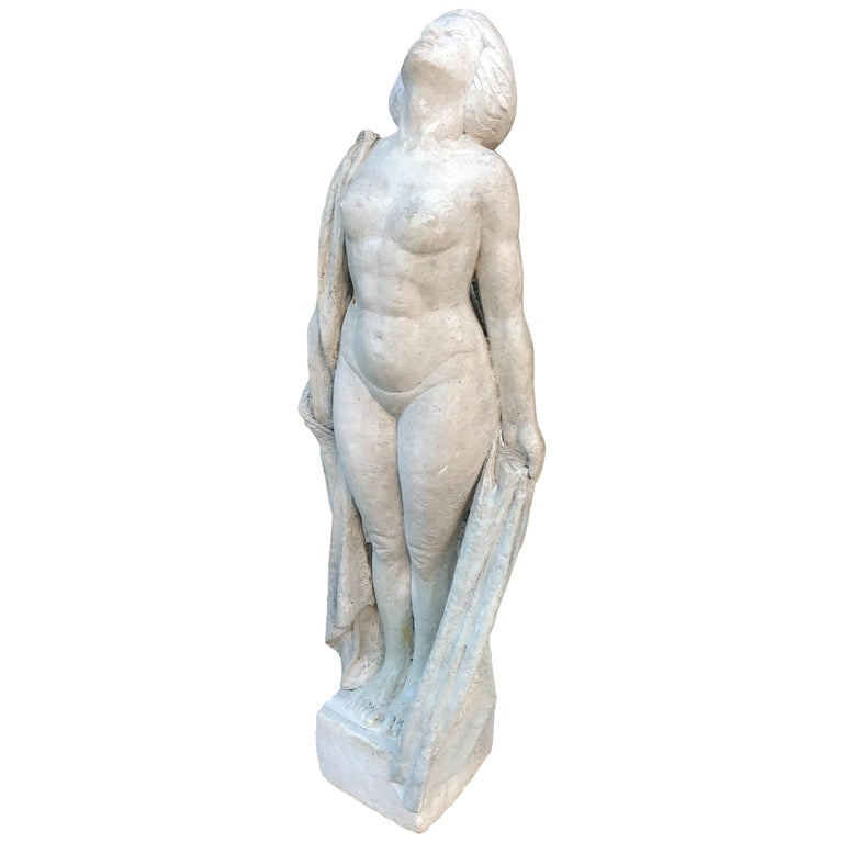 Ernestine Sirine-Real, Large Art Deco Statue in Plaster, circa 1925 For Sale