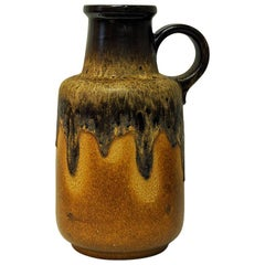 Beige vintage Fat Lava Vase Jug Handled Model by Scheurich, 1970s, W. Germany