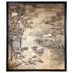 Fine Woven Embroidered Silk Handmade Chinese Tapestry, 19th Century