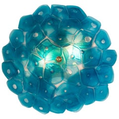Sculptural Wall Light in Slumped and Fused Blue Glass, Jeff Zimmerman