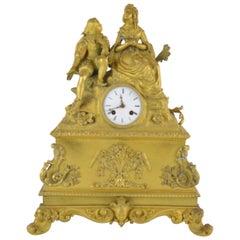 19th Century French Ormolu Bronze Mantel Clock Representing Romantic Scene