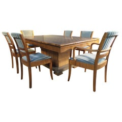 Art Deco Dining Set or Boardroom Table and 6 Chairs Hammered Metal Base