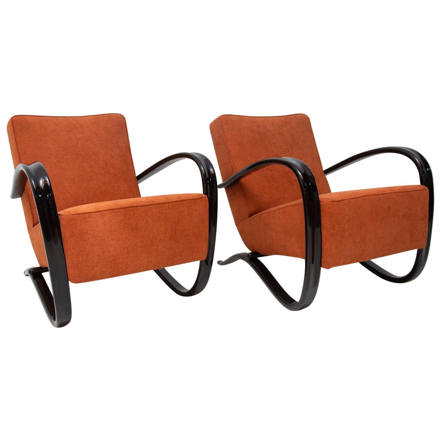 Pair of Lounge Armchairs H-269 by Jindřich Halabala for UP Závody, 1930s