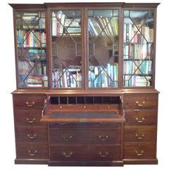 18th Century George III Period Mahogany Breakfront Secretary Bookcase