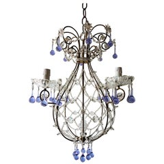 French Lavender Murano Drops Beaded Balloon Crystal Chandelier, circa 1940