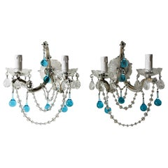French Murano Glass Aqua Drops Crystal Swags Sconces, circa 1920