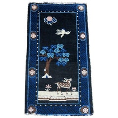 Antique Chinese Blue Peking Pictorial Carpet with Deer in Landscape