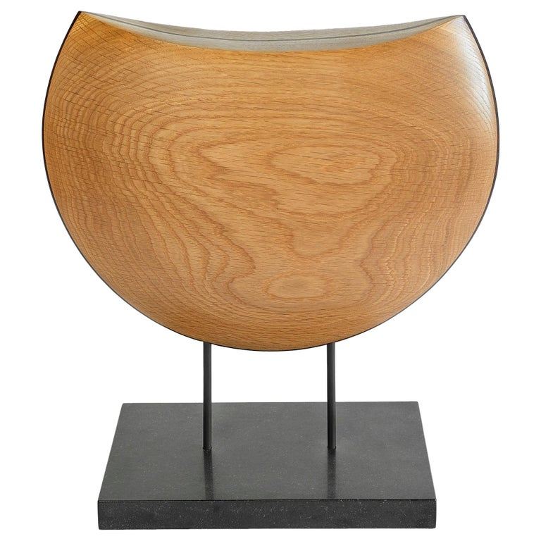 Into the Wind, Hand Carved White Oak and Cocobolo Sculpture on Granite Base For Sale