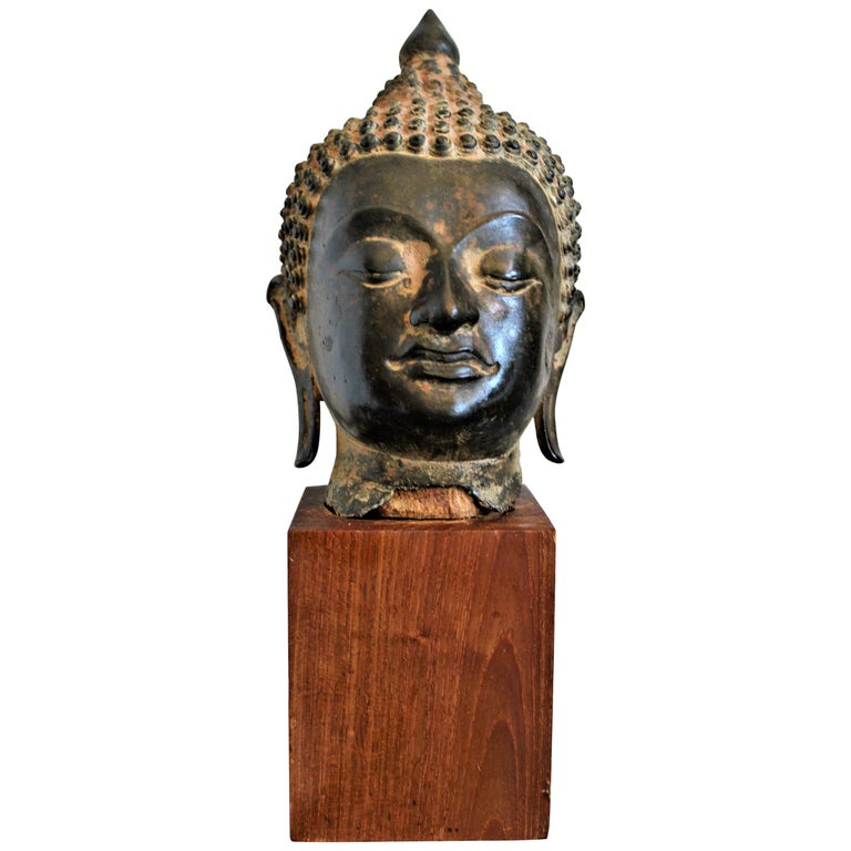 Antique Asian Cast Bronze Buddha Head Fragment Bust Sculpture Thai, 18th Century For Sale