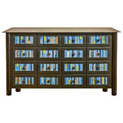 16-Drawer Counter, Multicolored Found Steel Apothecary, Functional Art Furniture