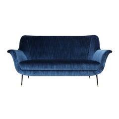 Vintage Midcentury Italian Sofa Upholstered in Blue Silk Velvet