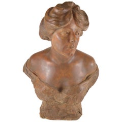 Eugène Canneel Sculpture Buste of a Woman Patinated Plaster