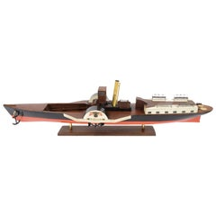 Model of the Danish Steamer Hjejlen, Black and Red Wood