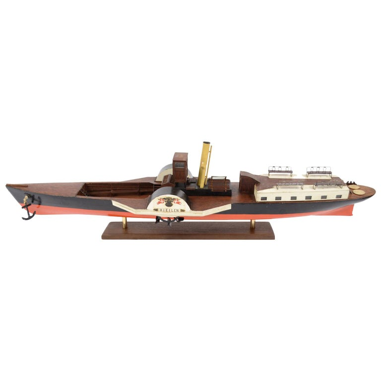 Model of the Danish Steamer Hjejlen, Black and Red Wood For Sale