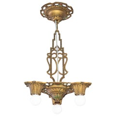 Original Petite Art Deco 1925/30 New York Chandelier/Ceiling Lamp