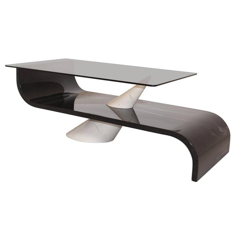 Italian Vintage Grey White Glass and Ceramic Coffee Table, circa 1970 For Sale