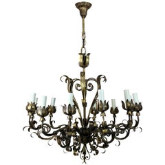 Gilded Wrought Iron Chandelier