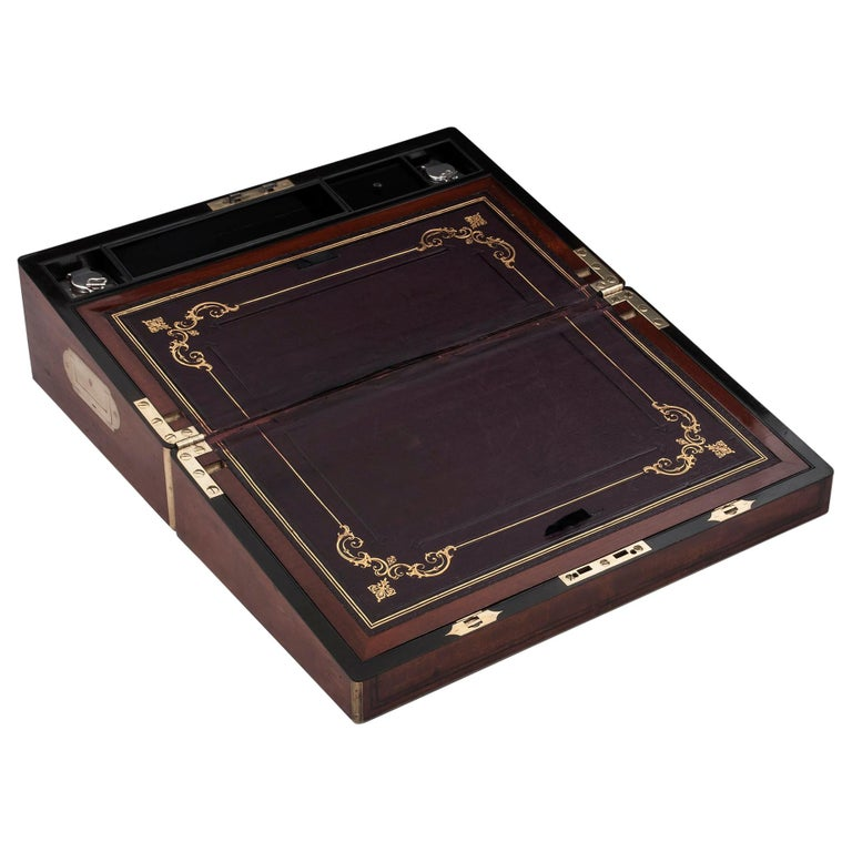 Antique Writing Box with secret compartment by Hausburg, 19th Century For Sale