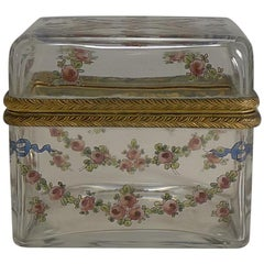 Antique French Painted Crystal Box, Ormolu Mounts Signed A.F., circa 1890