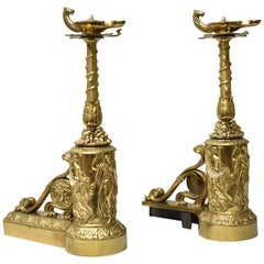 French Style Cast Brass Figural Chenets / Andirons Acanthus Medusa Bacchus
