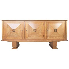1930s French Art Deco Cerused Oak Buffet, Sideboard by Gaston Poisson