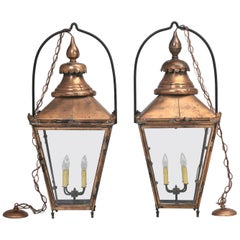 Antique Pair of Large Handmade French Copper Lanterns